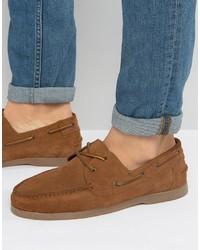 Chaussures bateau en daim brunes Asos