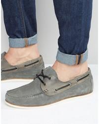 Chaussures bateau en daim grises Asos
