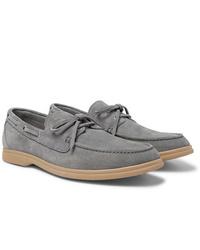 Chaussures bateau en daim grises Brunello Cucinelli