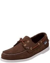 Chaussures bateau en daim marron foncé