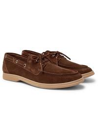 Chaussures bateau en daim marron Brunello Cucinelli