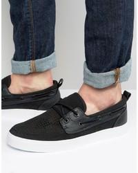 Chaussures bateau en daim noires Asos