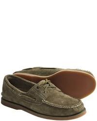 Chaussures bateau en daim olive