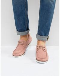 Chaussures bateau en daim roses Asos