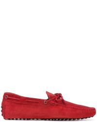 Chaussures bateau en daim rouges Tod's