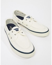 Chaussures bateau en toile blanches Sperry