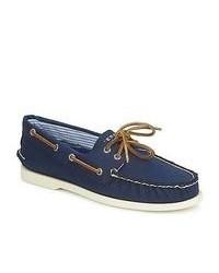Chaussures bateau en toile bleu marine