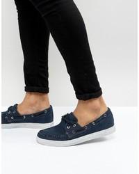 Chaussures bateau en toile bleu marine Armani Jeans
