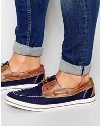 Chaussures bateau en toile bleu marine Asos