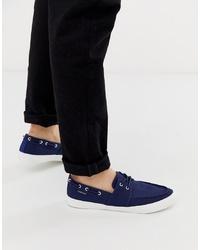 Chaussures bateau en toile bleu marine Ben Sherman