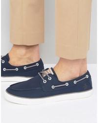 Chaussures bateau en toile bleu marine Original Penguin