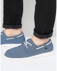 Chaussures bateau en toile bleues Farah