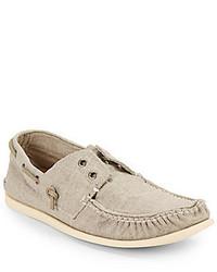 Chaussures bateau en toile grises