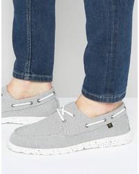 Chaussures bateau en toile grises Farah