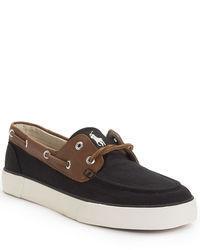 Chaussures bateau en toile noires