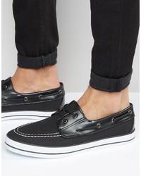 Chaussures bateau en toile noires Asos