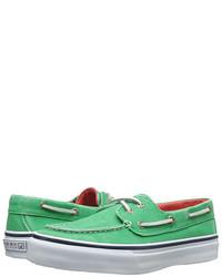 Chaussures bateau en toile vert menthe
