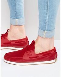 Chaussures bateau rouges Lacoste