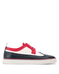 Chaussures brogues en cuir blanc et rouge et bleu marine Thom Browne