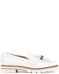 Chaussures brogues en cuir blanches Stuart Weitzman
