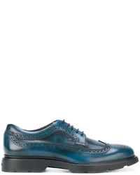 Chaussures brogues en cuir bleu canard