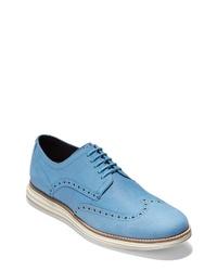 Chaussures brogues en cuir bleu clair