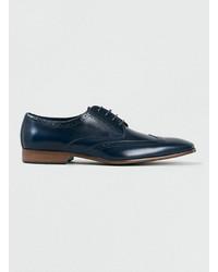 Chaussures brogues en cuir bleu marine