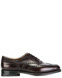 Chaussures brogues en cuir bordeaux Church's