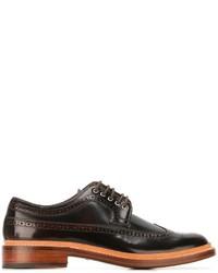 Chaussures brogues en cuir brunes foncées Grenson