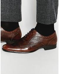 Chaussures brogues en cuir brunes foncées Red Tape