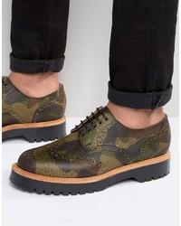 Chaussures brogues en cuir brunes Asos