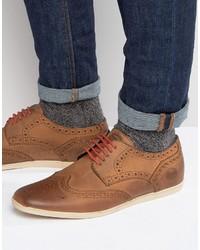 Chaussures brogues en cuir brunes Base London