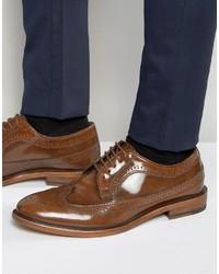 Chaussures brogues en cuir brunes Dune