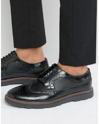 Chaussures brogues en cuir épaisses noires Silver Street