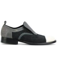 Chaussures brogues en cuir gris foncé Comme des Garcons