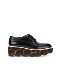 Chaussures brogues en cuir imprimées léopard noires Prada