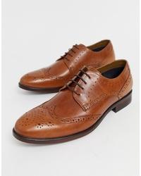 Chaussures brogues en cuir marron clair Burton Menswear