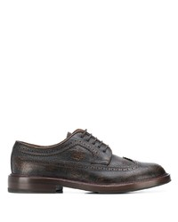 Chaussures brogues en cuir marron foncé Brunello Cucinelli