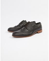 Chaussures brogues en cuir marron foncé Dune