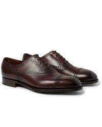 Chaussures brogues en cuir marron foncé Edward Green