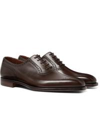 Chaussures brogues en cuir marron foncé George Cleverley