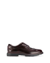 Chaussures brogues en cuir marron foncé Hogan