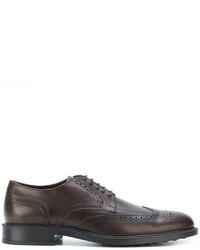 Chaussures brogues en cuir marron foncé Tod's