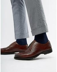 Chaussures brogues en cuir marron foncé WALK LONDON