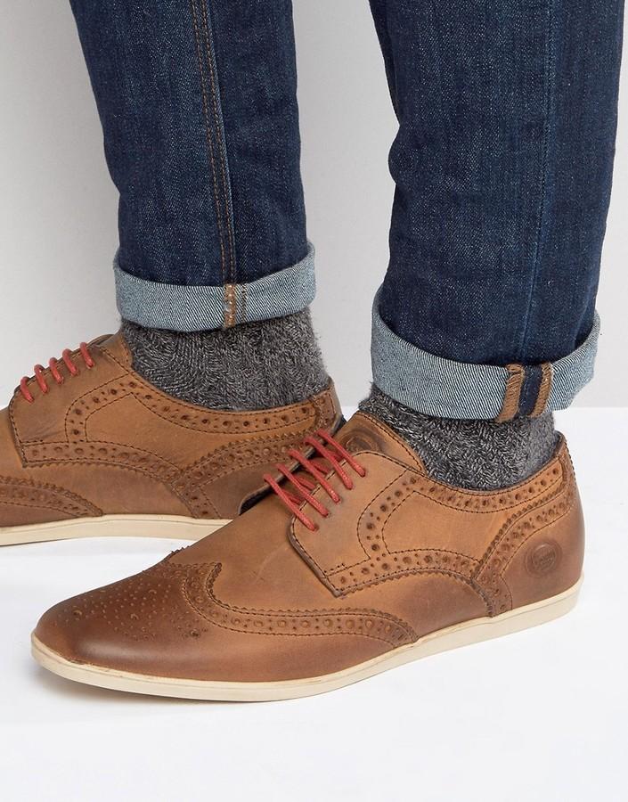 Chaussures brogues en cuir marron Base London