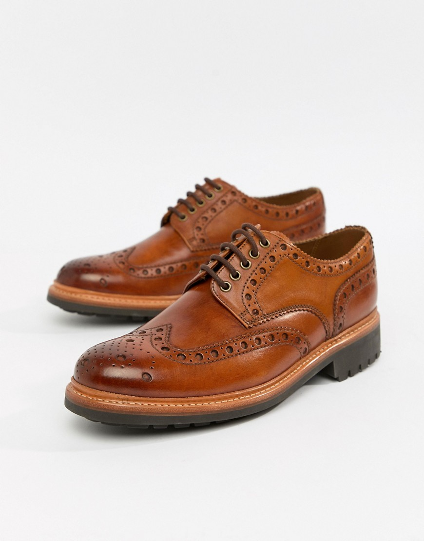 Chaussures brogues en cuir marron Grenson