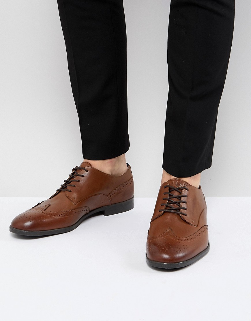Chaussures brogues en cuir marron H By Hudson