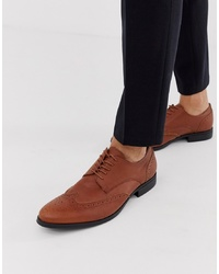 Chaussures brogues en cuir marron Jack & Jones