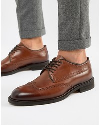 Chaussures brogues en cuir marron Selected Homme