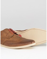 Chaussures brogues en cuir marron Base London